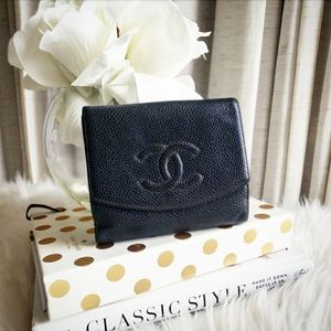 Chanel Timeless CC Caviar Trifold Compact Wallet